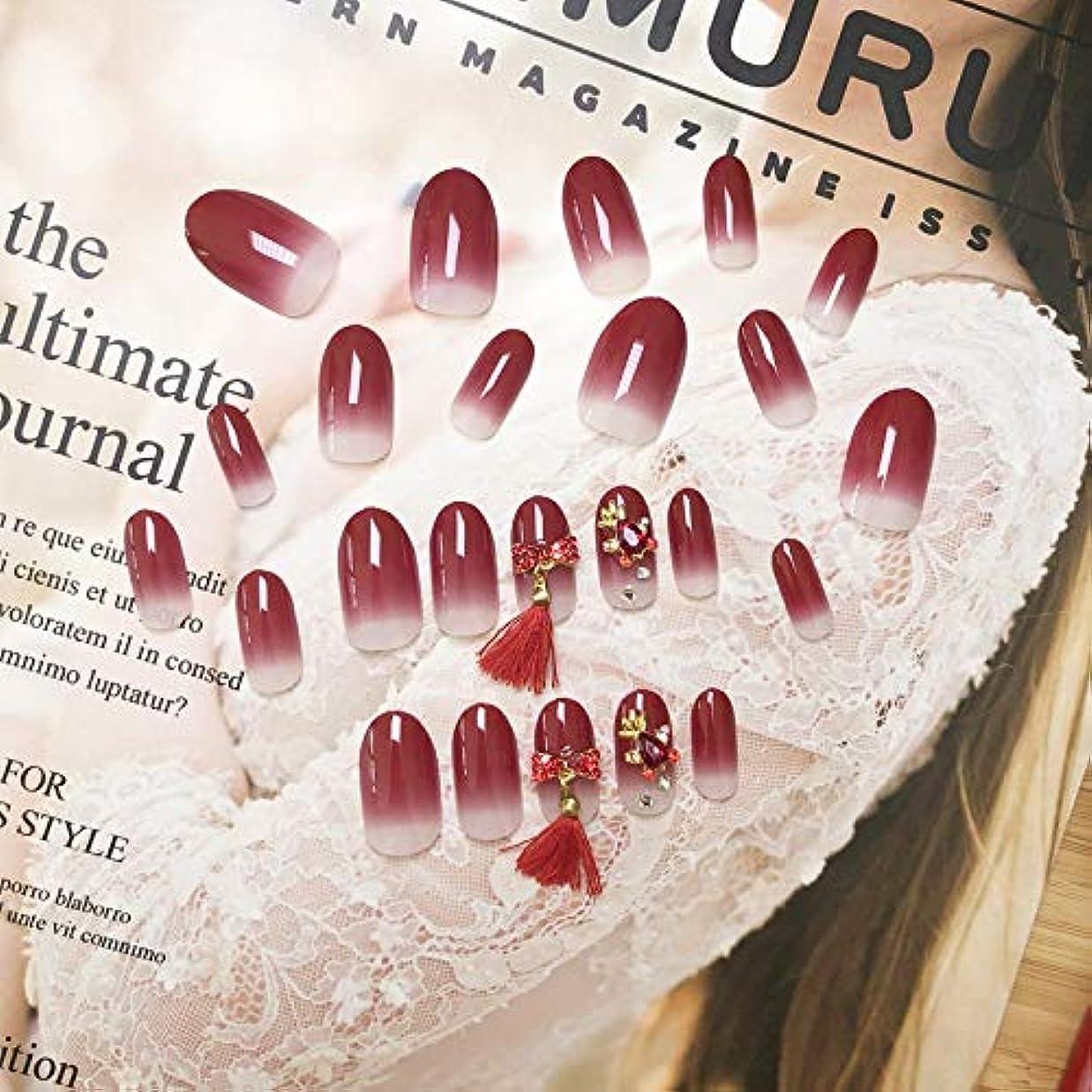 誠実さ苗セールJonathan ハンドケア 偽爪キット24個入り赤グラデーション、タッセル偽爪、接着剤付き