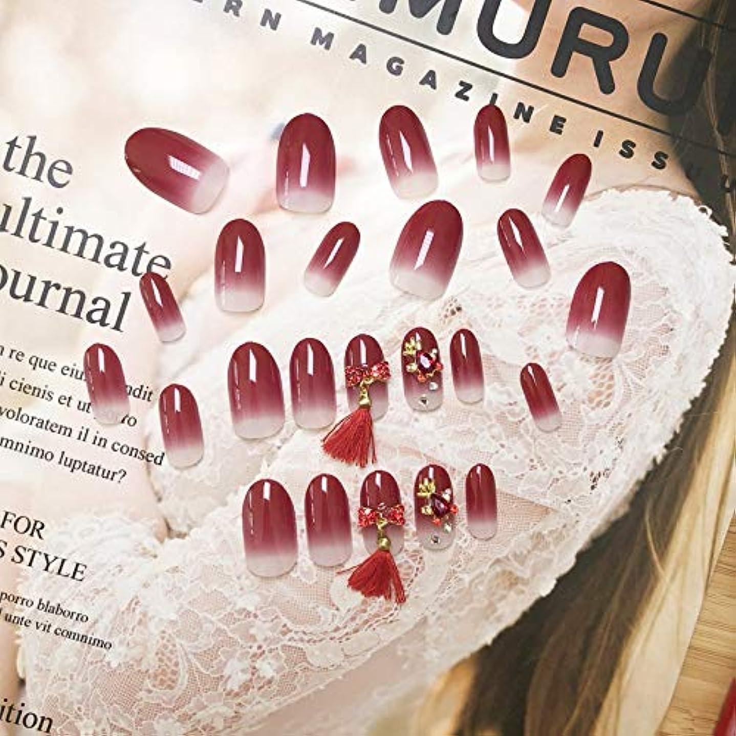 ネストアフリカ贅沢XUANHU HOME 偽爪キット24個入り赤グラデーション、タッセル偽爪、接着剤付き