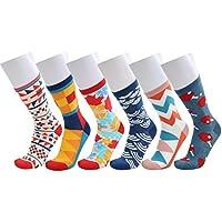 WEILAI SOCKS Men's Colorful Design Casual Cotton Rich Comfort Dress Crew Socks 6 Pack