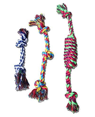 犬用 ロープ 3点セット 犬噛むおもちゃ (ブルー)