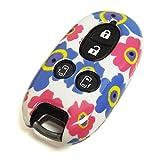 ルークス ML21S スマートキー キーケース カバー 専用設計 スマピタ ハードケース 花柄5 ピンク×ブルー
