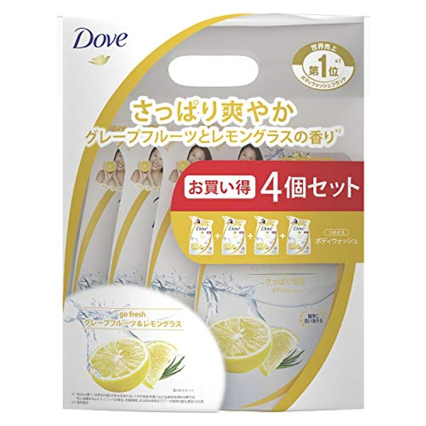 白菜忌まわしいカーテンDove(ダヴ) ダヴ ボディウォッシュ グレープフルーツ&レモングラス つめかえ用 4個セット ボディソープ 詰替え 360g×4個