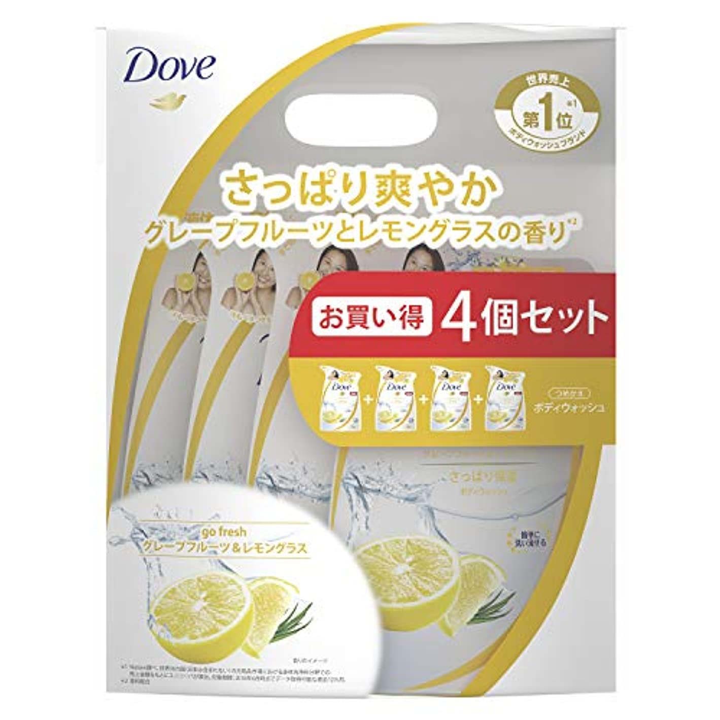 国民愛情深いパーフェルビッドDove(ダヴ) ダヴ ボディウォッシュ グレープフルーツ&レモングラス つめかえ用 4個セット ボディソープ 詰替え 360g×4個