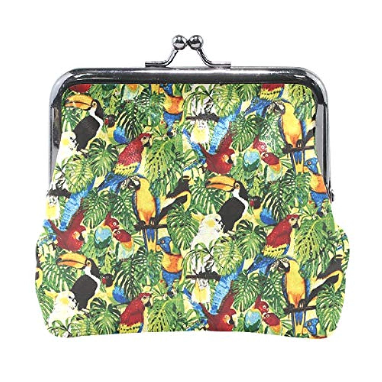 がま口 小銭入れ 財布 熱帯の鳥類 コインケース レザー製 丸形 軽量 人気 おしゃれ プレゼント ギフト 雑貨