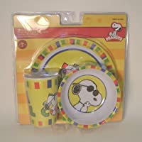 3 Piece Snoopy Joe Cool Plastic Dish Set Includes Cup, Bowl and Plate by Gibson [並行輸入品]