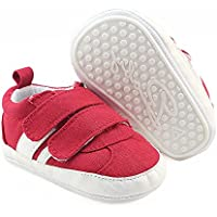 Isbasic Canvas Sneakers Shoes for Baby Boys Girls Toddler Non-Slip Rubber Sole Casual Infant Trainer (12-18 Months red)