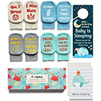 Baby Socks Set | 4 Pairs Funny Newborn Present | Cute 3-12 Months Old Baby Girl or Boy Quote Socks