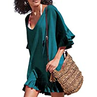 Golden life Women's Cotton Bathing Suit Swimwear Beach Cover Ups Summer Dress
