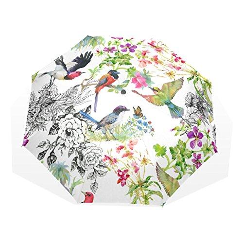 AOMOKI 折り畳み傘 花柄 鳥 牡丹 カラフル 手開き 三つ折り 梅雨対策 晴雨兼用 UVカット 耐強風 8本骨