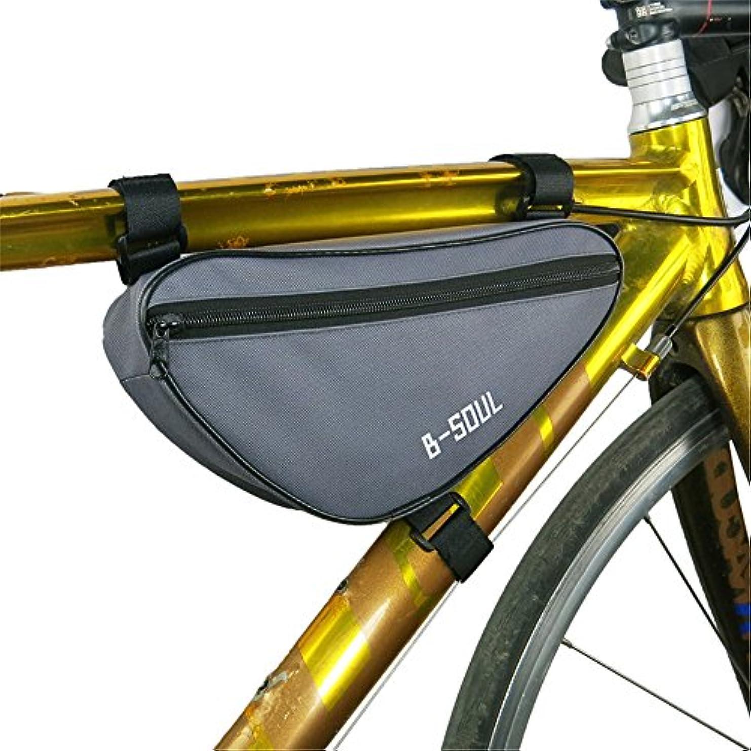 ワゴングラフマグ自転車シートパックバッグアウトドアスポーツタッチスクリーン携帯電話バッグ自転車フロントフレームマウンテンバイクサドルバッグ 自転車サドルバッグ大容量 (色 : グレー)