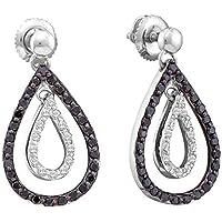 FB Jewels ソリッド 14カラット ホワイトゴールド レディース ラウンドブラックカラー 強化ダイヤモンド ダブルティアドロップ ダングルピアス 3/4 Cttw