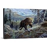 テリーDoughtyプレミアムシックラップキャンバス壁アート印刷題名over the top Grizzly 24