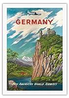 ドイツ - ライン川 - パンアメリカン航空 - ビンテージな航空会社のポスター c.1950s - 美しいポスターアート