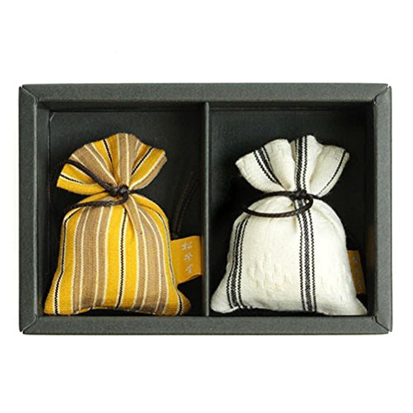 見通し建築ツイン匂い袋 誰が袖 ルリック(縞) 2個入 松栄堂 Shoyeido 本体長さ60mm (色?柄は選べません)