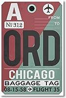 Ord–シカゴAirportタグ–新しい旅行ポスター