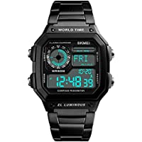 Men's Word Time Digital Sport Watch Dual-Time Countdown Alarm Luminous Stainless Steel Band Watch