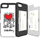 iPhone7 ケース 《SKINU》 キースへリング・KEITH HARING・カード収納可能・衝撃吸収抜群・傷防止・ミラー付き・スタンド機能・ICカード/クレジットカード完璧収納 (Holding a Heart)