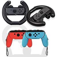 iniko ジョイコン ハンドル 4点セット Nintendo Switch マリオカート8 デラックス 対応 Joy-Con 改良モデル(ブラック×レッド×ブルー)