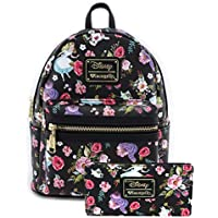 Loungefly Disney Alice Floral Print Mini Backpack and Wallet Set