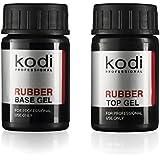 Kodi プロフェッショナルラバートップ&ベースジェルセット| 14ml 0.49オンス|爪のソークオフとポリッシュ コートキット|長持ちするネイルレイヤー|使いやすい、無毒&無香料| LEDまたはUVランプの下で硬化