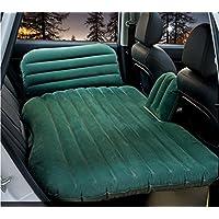 車のエアマットレス、GZD多機能インフレータブルカーマットレス2つの独立した便のサポートと調節可能な頭の保護枕、インフレータブルベッドキャンプユニバーサル、85 * 135センチメートルと背もたれのクッション,Green