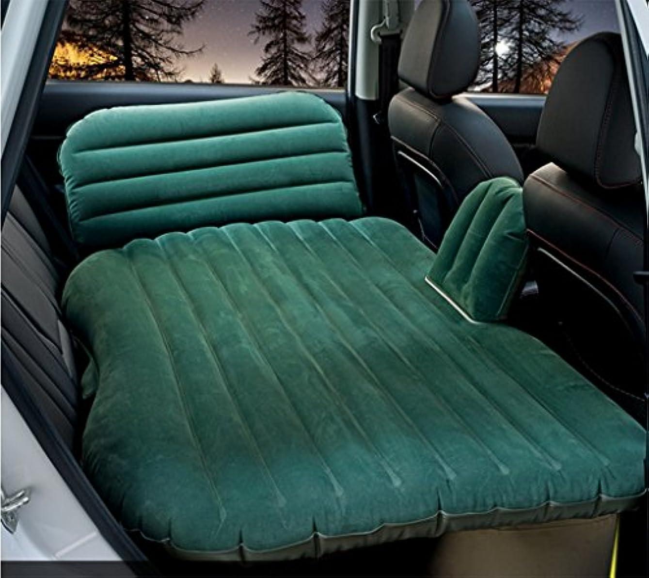 ハング静けさ味わう車のエアマットレス、GZD多機能インフレータブルカーマットレス2つの独立した便のサポートと調節可能な頭の保護枕、インフレータブルベッドキャンプユニバーサル、85 * 135センチメートルと背もたれのクッション,Green