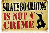なまけ者雑貨屋 Skateboarding Crime アメリカ ン 雑貨 メタル ブリキ 看板 アンティーク レトロ 壁飾