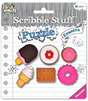 Scribble Stuff Puzzle Erasers ~ Sweets (Ice Cream, Doughnuts, Cake, Cupcakes; 6 Erasers) by MEGA Brands [並行輸入品]