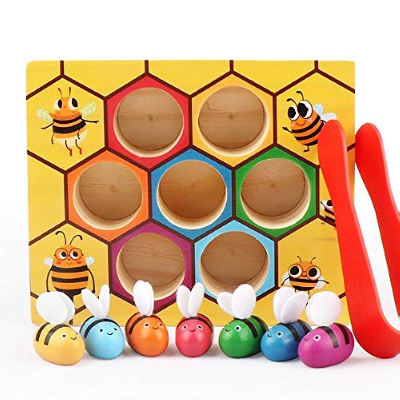報復ぼんやりした原点色分類おもちゃ。木製のかわいい蜂狩りゲーム。手と目の調整を養います。 3歳以上の子供に適しています。