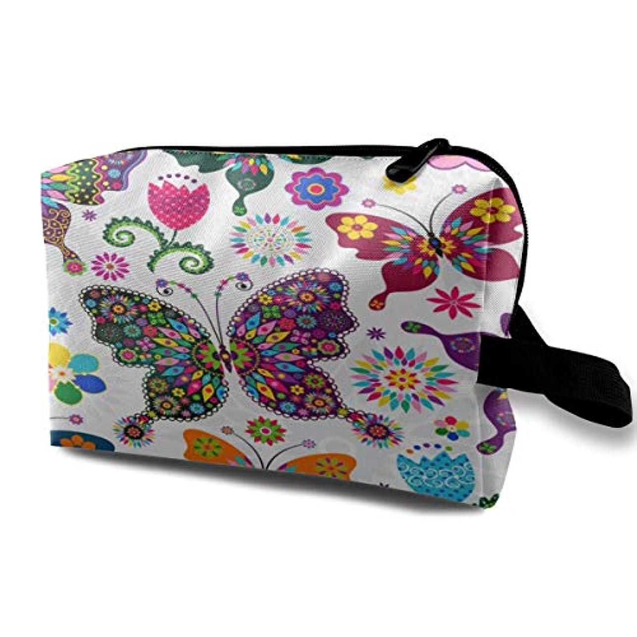 色化学薬品アームストロングPattern Colorful Butterfly And Flower 収納ポーチ 化粧ポーチ 大容量 軽量 耐久性 ハンドル付持ち運び便利。入れ 自宅?出張?旅行?アウトドア撮影などに対応。メンズ レディース トラベルグッズ