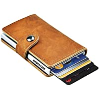 GingkoTree Credit Card Holder RFID Blocking Wallet Slim Wallet PU Leather Vintage Aluminum Business Card Holder Automatic Pop-up Card Case Wallet Security Travel Wallet
