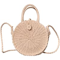 Beurlike Womens Straw Crossbody Bag Round Handbag Shoulder Bag for Beach Travel