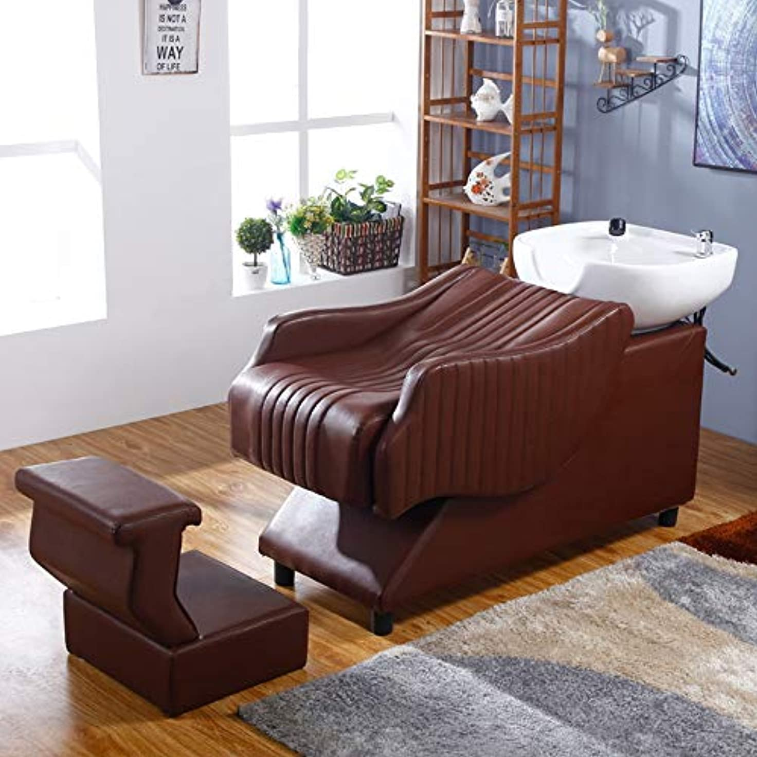 シュリンク強化するチャンバーシャンプー理容室逆洗椅子、 鉱泉の美容院装置の毛の美のベッドのための半リカンベントシャンプーボールの流しの椅子