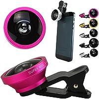 セルカレンズ 自撮りレンズ attach FUN-TA-STICK セルフィーレンズ Clip lens iPhone スマートフォン Xperia アンドロイド 0.4倍超広角レンズ (ピンク)