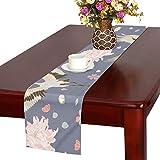 LKCDNG テーブルランナー カラフル 動物 和風のつる クロス 食卓カバー 麻綿製 欧米 おしゃれ 16 Inch X 72 Inch (40cm X 182cm) キッチン ダイニング ホーム デコレーション モダン リビング 洗える