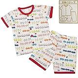 ボーイズキッズパジャマ[enfant pur]半袖ハーフパンツパジャマ上下セット|電車柄|寝間着|男の子|男児|子供用 120cm ホワイト
