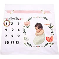 Baby Photography Blanket QIJOVO Monthly Newborn Milestone Blanket Frame Photo Props for Babies Newborn Swaddling Blanket 40X40 [並行輸入品]