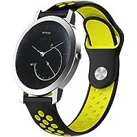 XIHAMA For Nokia Withings スチール hr Watch Band 18MM 交換ベルト 防水 運動型 シリコーンゴム 腕時計 ストラップ 替えバンド (黒/イエロー)
