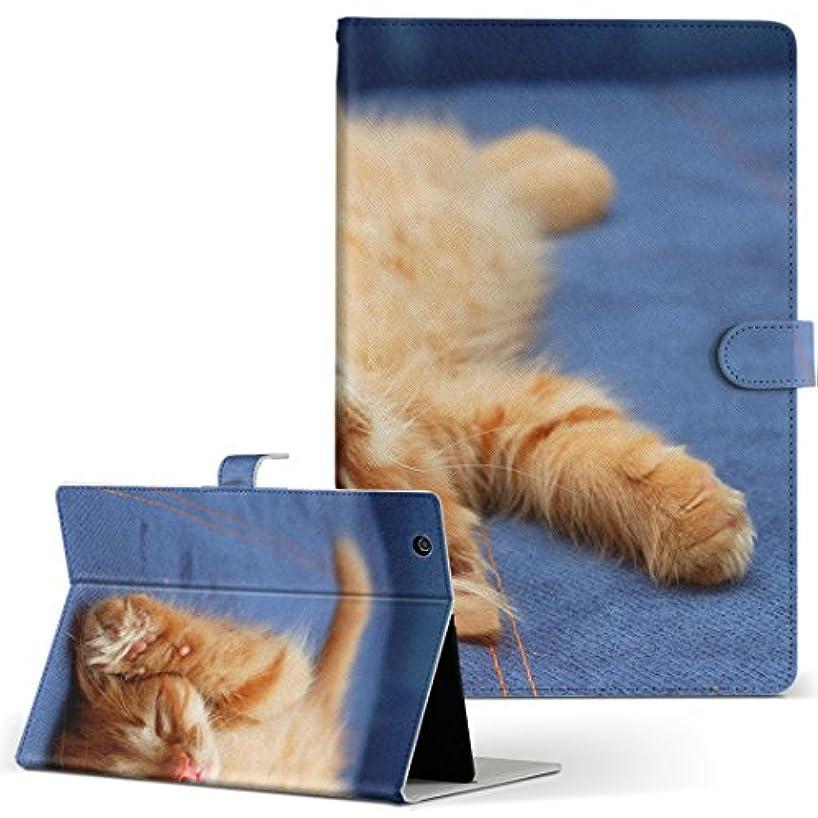 教義派手スキニーigcase dtab Compact d-02K docomo ドコモ タブレット 手帳型 タブレットケース タブレットカバー カバー レザー ケース 手帳タイプ フリップ ダイアリー 二つ折り 直接貼り付けタイプ 002759 アニマル 猫 動物 写真