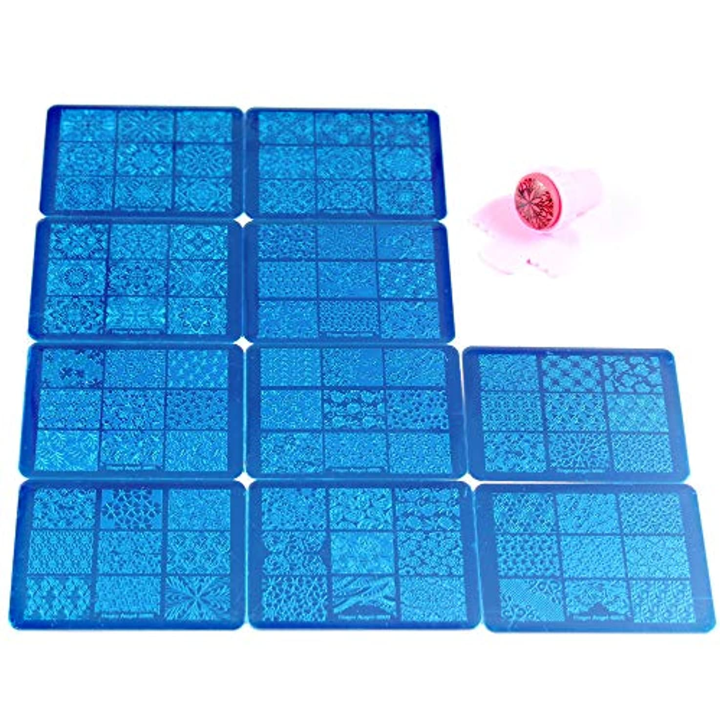 提唱するズボンリフトFingerAngel 10枚 ネイルイメージプレートセット ネイルプレート 長方形 花 フルカバー ネイルスタンププレート スタンプ スクレーパー