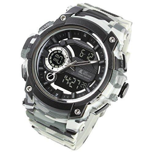 [LAD WEATHER]アナデジ ミリタリーウォッチ トリプルタイム 100m防水 アウトドア時計 メンズ腕時計 lad043 (カモフラージュホワイト)
