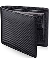 PEYNE 二つ折り 財布 カーボン 本革 メンズ 財布 (表革: カーボン柄 ブラック, 内側: 型押しカーフ ブラック/レッド) 紳士 レディース Mens Wallet/Purse 高級 男の 牛皮 財布 ふたつおり財布 2つ折り財布 二つ折り財布