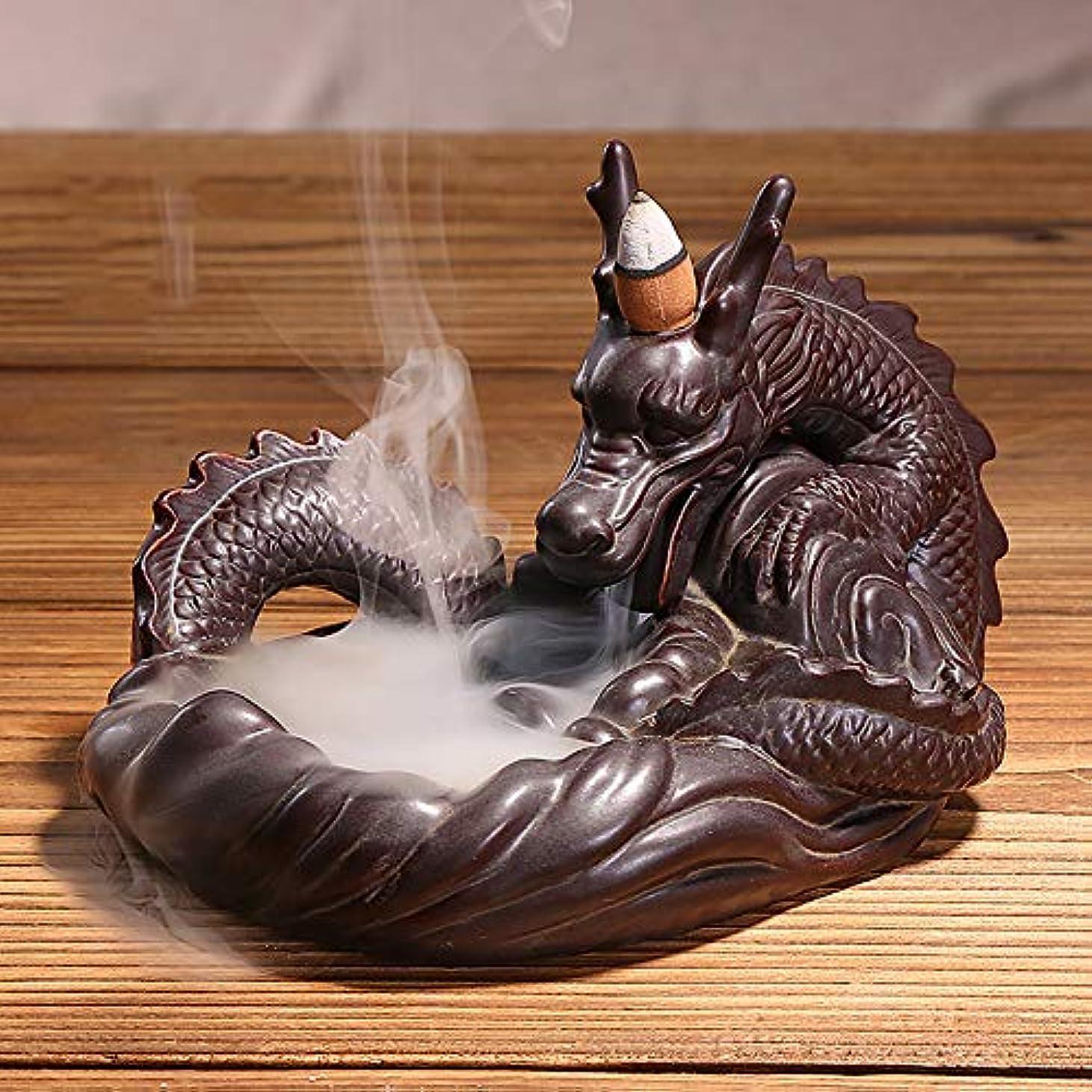 誰が一目将来のHandmade Ceramic Dragon Incense Holder for Sticks or Cones, Backflow Incense Burner Figurine Incense Cone Holders Home Decor Gift Decorations Statue Mythical Ornaments