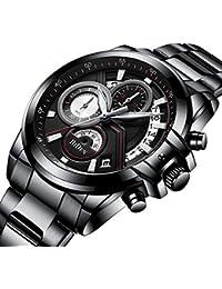 腕時計、メンズ腕時計、ファッションスポーツ多機能カレンダー日付防水アナログ腕時計ビジネスカジュアルクォーツクロノグラフ腕時計ステンレス時計バンド (ブラック)