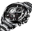 腕時計 メンズ腕時計 ファッションスポーツ多機能カレンダー日付防水アナログ腕時計ビジネスカジュアルクォーツクロノグラフ腕時計ステンレス時計バンド (ブラック)