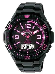 [シチズン キューアンドキュー]CITIZEN Q&Q 電波ソーラー腕時計 SOLARMATE (ソーラーメイト) アナログ表示 クロノグラフ機能付き 10気圧防水 ウレタンバンド ピンク×ブラック MD06-325 メンズ