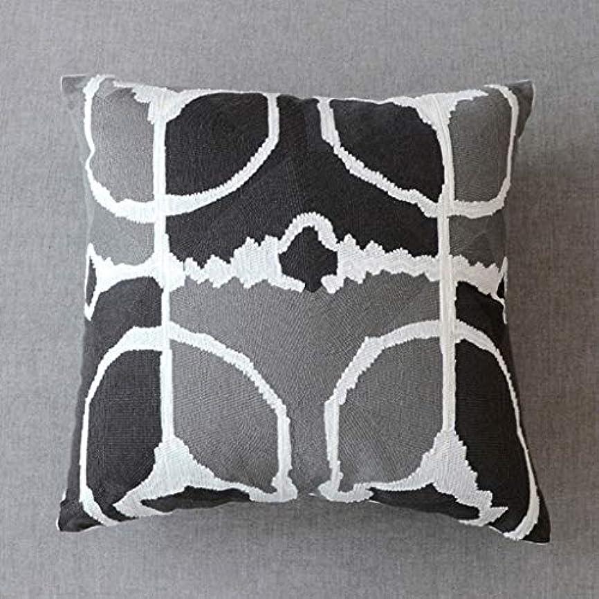 卑しい感覚通常DYHOZZ 正方形幾何学モザイククッション/刺繍枕/綿キャンバス家の装飾枕45cm×45cm まくら (色 : D)