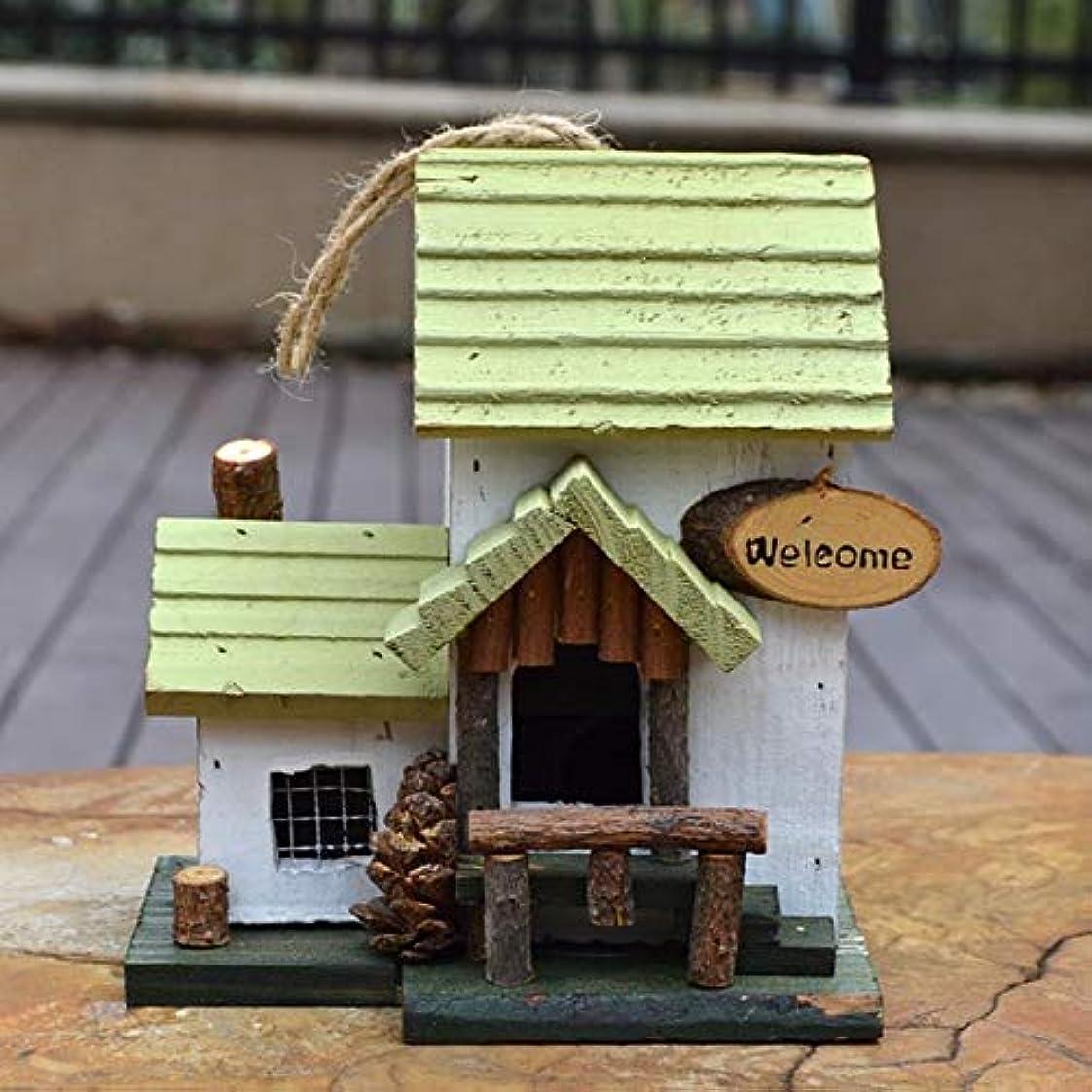 知恵減らすコーデリア巣箱 ガーデンユニークなノベルティ鳥の巣箱庭の装飾バードホテルキャビンのための木製ハンギングバードハウス バードホテル (Color : White, Size : 17x15x19CM)