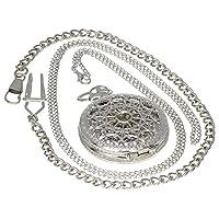 ブロンズヴィンテージ真鍮アンティークケースポケット時計Fob wat6ch forメンズレディースwith 1pcネックレスチェーン1pcクリップキーリブチェーン heart cobweb