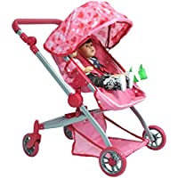 Deluxe Doll Twin Stroller - Pink Hearts Design Mega Twin stroller for 18 inch dolls